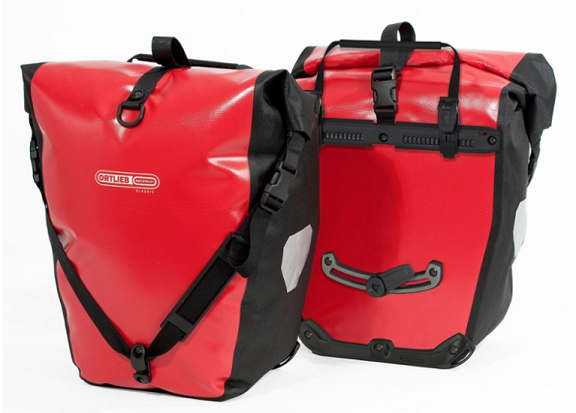 Two red pannier bags.