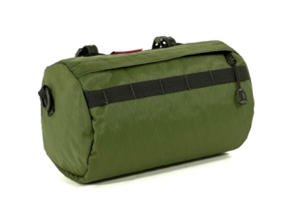 A green handlebar bag.