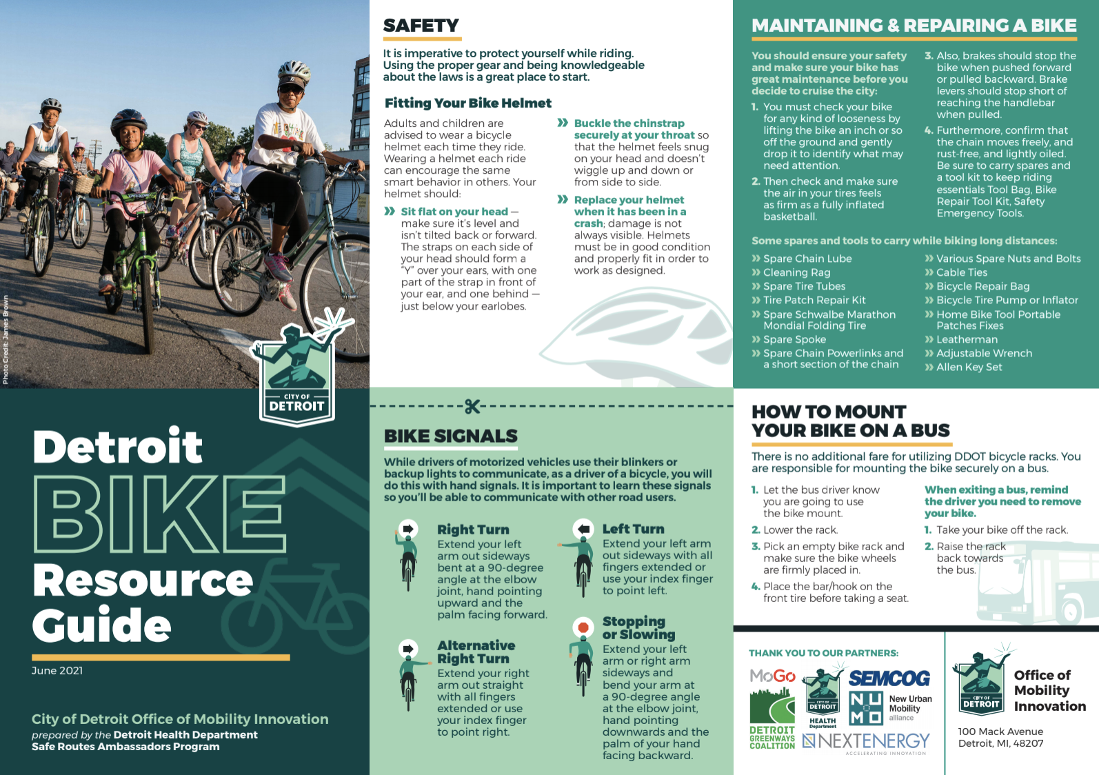 Screenshot of the Detroit Bike Resource Guide outlining safety tips, arm signals and more