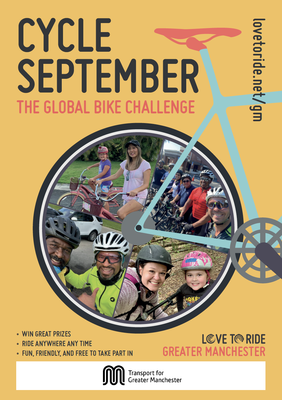 Yellow poster saying 'Cycle September - the global bike challenge' with a bike illustration contains photos of happy riders inside the wheel. Three bullet points saying 'win great prizes; ride anywhere any time; fun, friendly and free to take part in'.