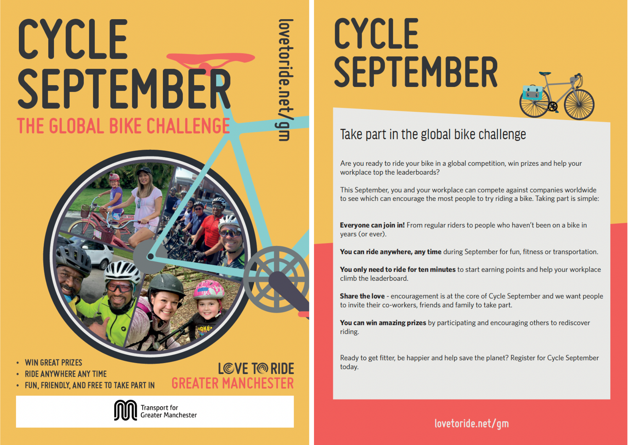 2-page spread of a flyer for Cycle September