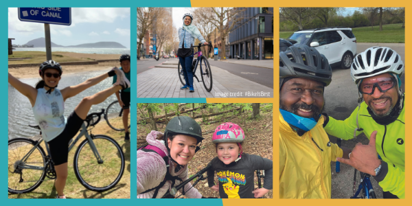 A collage of 4 different images of people with their bikes wearing helmets and smiling