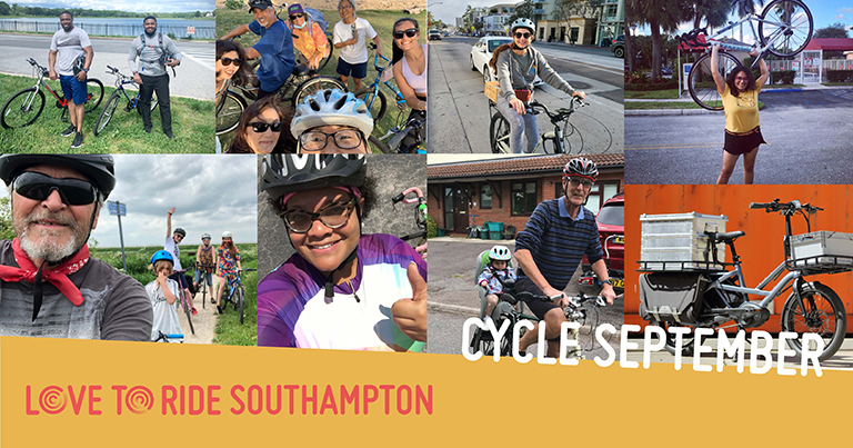 A collage of photos of happy riders with the text 'Cycle September' and the Love to Ride logo.