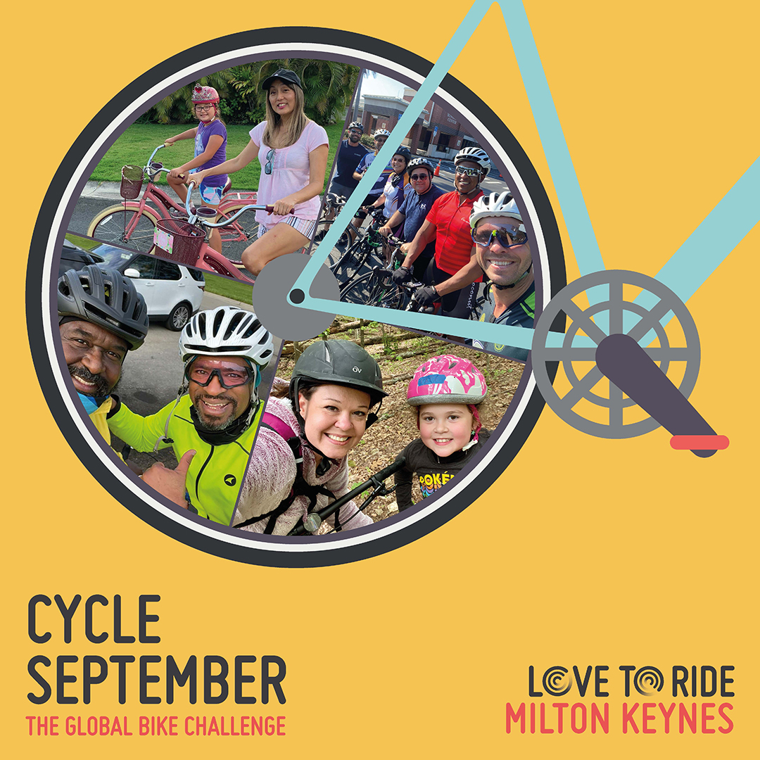 Yellow square asset saying 'Cycle September - the global bike challenge' with a bike illustration which contains photos of happy riders inside the wheel.
