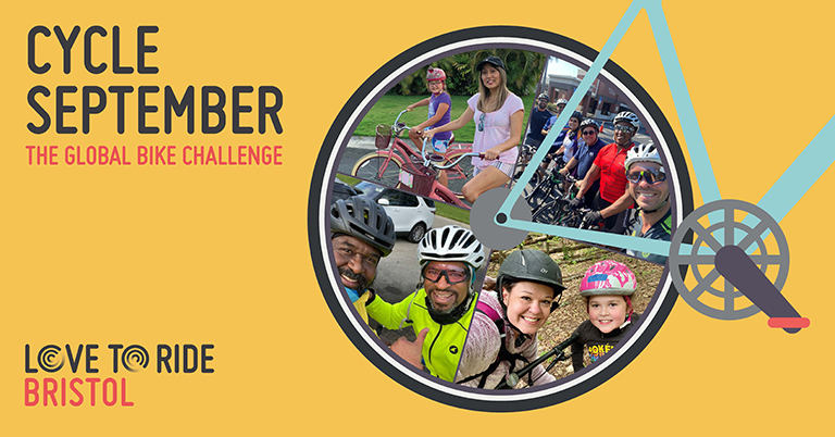 Yellow rectangular asset saying 'Cycle September - the global bike challenge' with a bike illustration contains photos of happy riders inside the wheel.