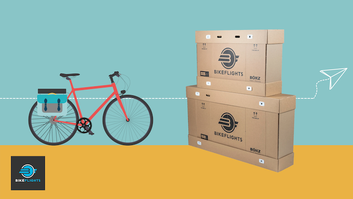 On the left a graphic of a red bike. On the right, an image of a BikeFlight Bike Box stacked on top of another. A paper aeroplane dotted line runs through them both. At the bottom the BikeFlight logo is displayed.