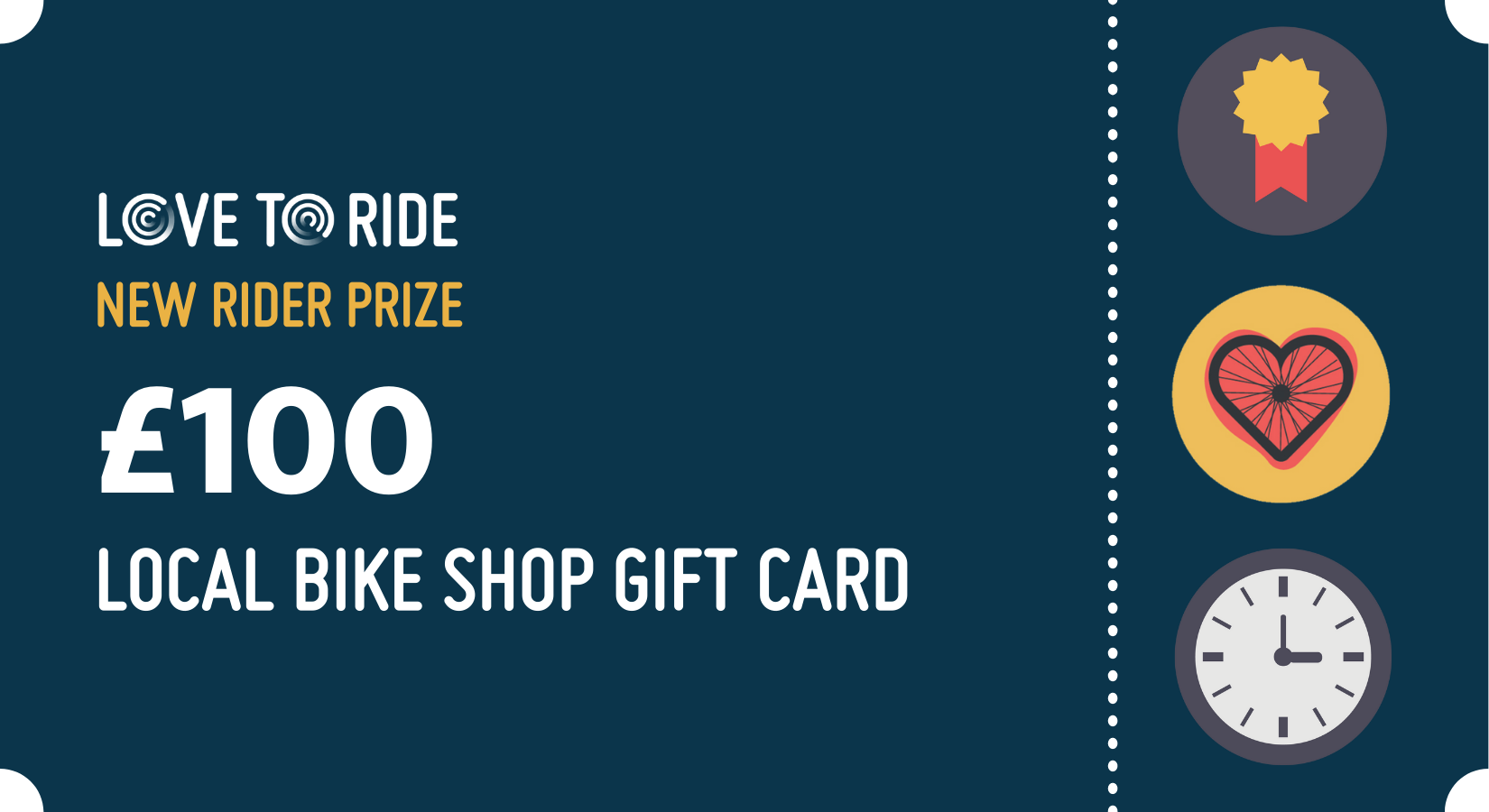 A local bike shop gift card design. The text says 'Pre-registration prize. £100 local bike shop gift card'