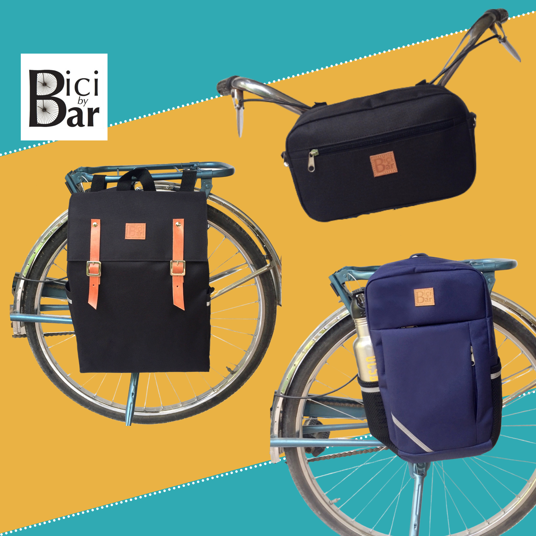 A square image containing 3 images. At the top, a black Bike Pack Handlebar Bag is displayed on a set of handlebars. Top the left, a Gaucho Black Waterproof Backpack Pannier displayed on a wheel. To the right, a blue Sports Pannier displayed on a wheel. The BiciBar logo is displayed.