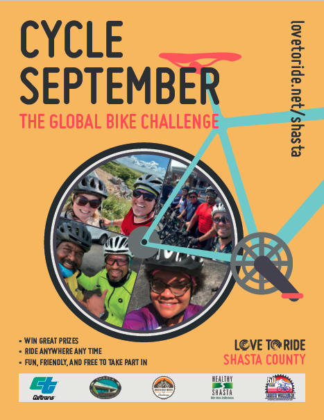 Yellow poster saying 'Cycle September - the global bike challenge' with a bike illustration contains photos of happy riders inside the wheel. Three bullet points saying 'win great prizes; ride anywhere any time; fun, friendly and free to take part in'