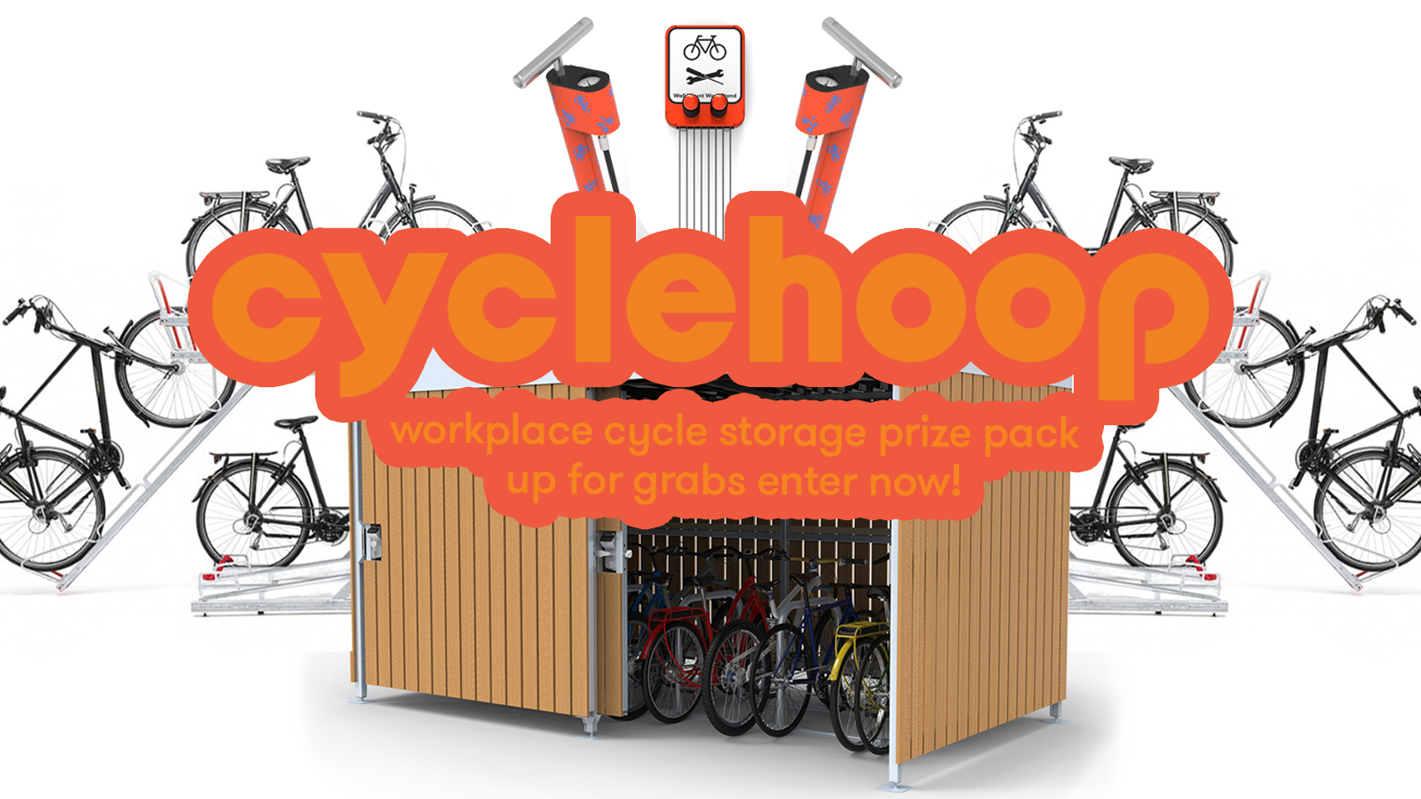 A bike shed in the centre, surrounded by bikes on leaning cycle stands. In the centre is the Cyclehoop logo and underneath it says 'workplace cycle storage prize pack up for grabs enter now!'