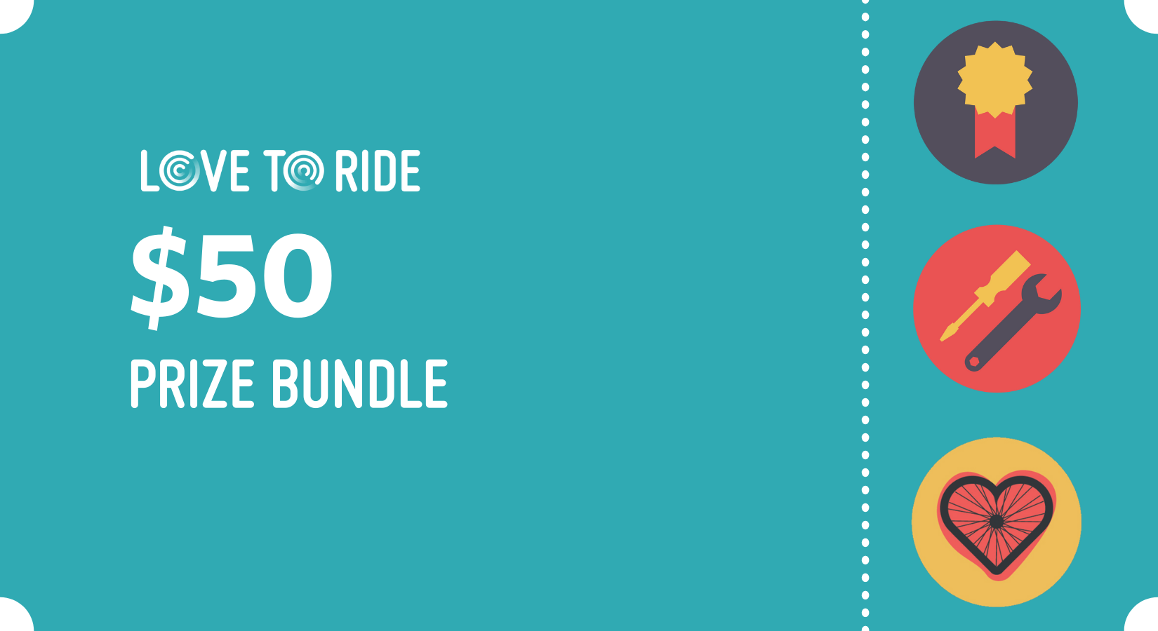 Graphic with the text: Love to Ride points prize $50 prize bundle