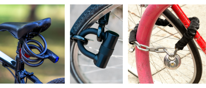 Three images showing a cable lock around a bike saddle, a d-lock and chain around a bike wheel and a padlock and chain around a bike wheel.