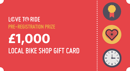 A graphic of a red gift card. The text says 'Love to Ride. Pre-registration prize. £1000 local bike shop gift card'