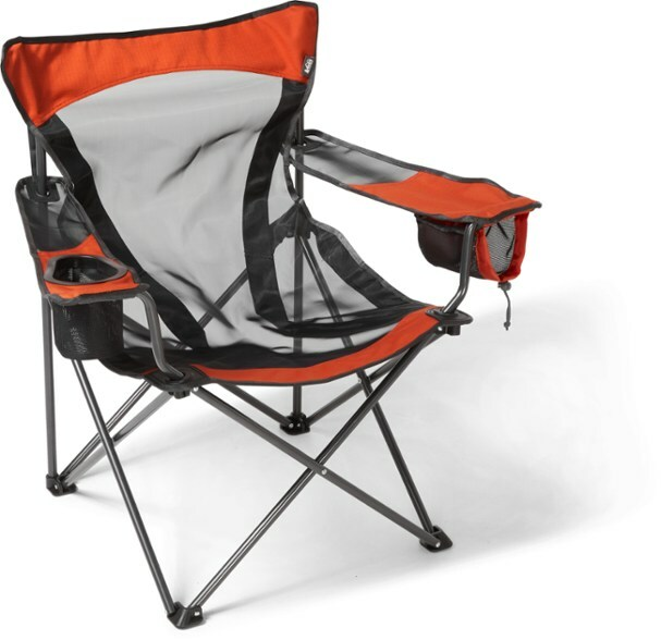 orange camping chair with a mesh bottom