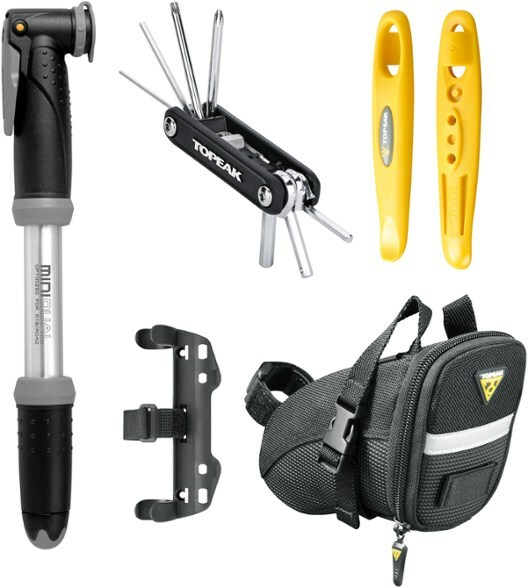 Cccessory tool kit including bike pump, 11-function mini-tool, aerodynamic seat back with a reflective strip and a side-mount bracket.