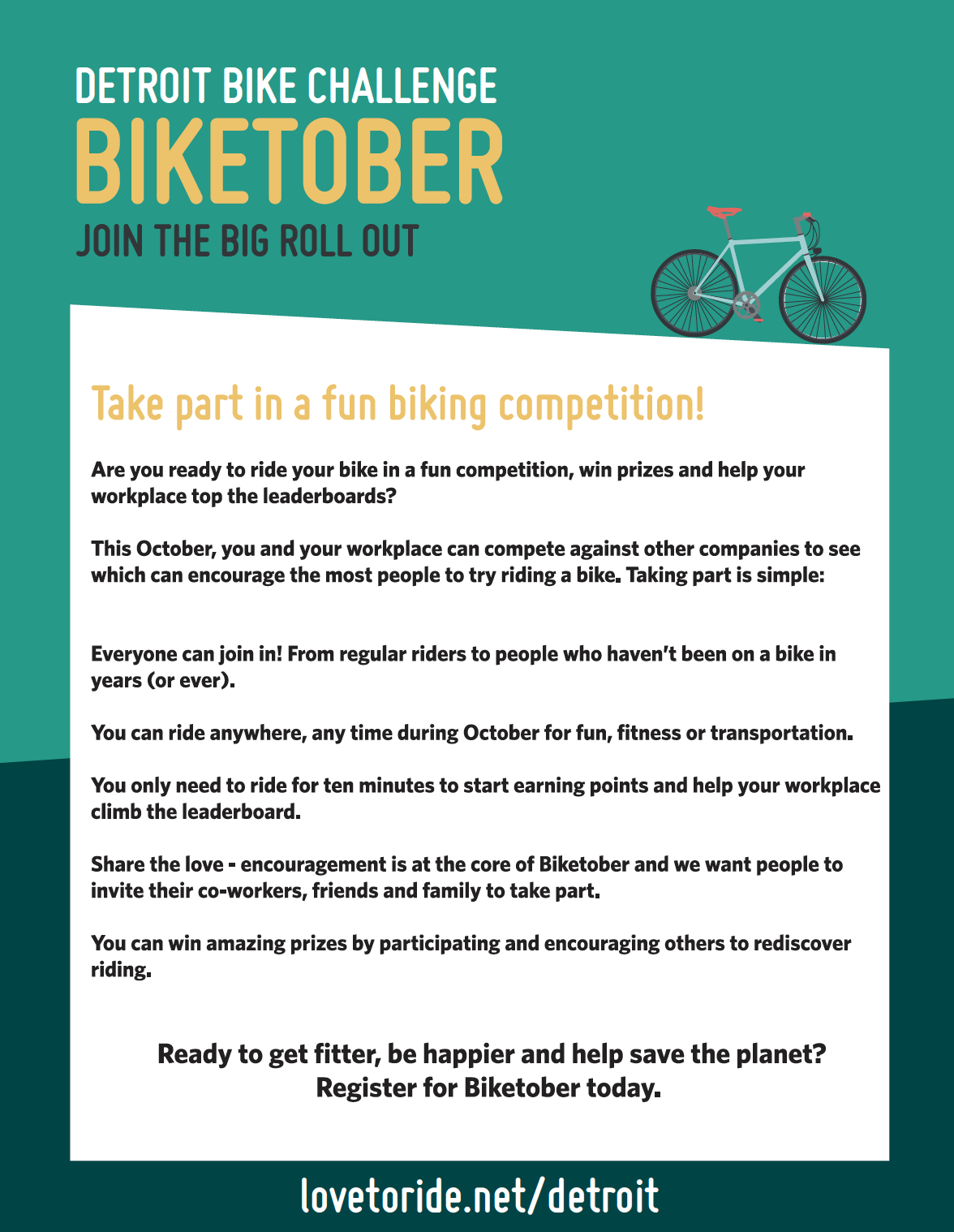 Biketober poster with images or riders inside an illustrated bike wheel On the back is information about how to participate (can be read at lovetoride.net/detroit/pages/info)