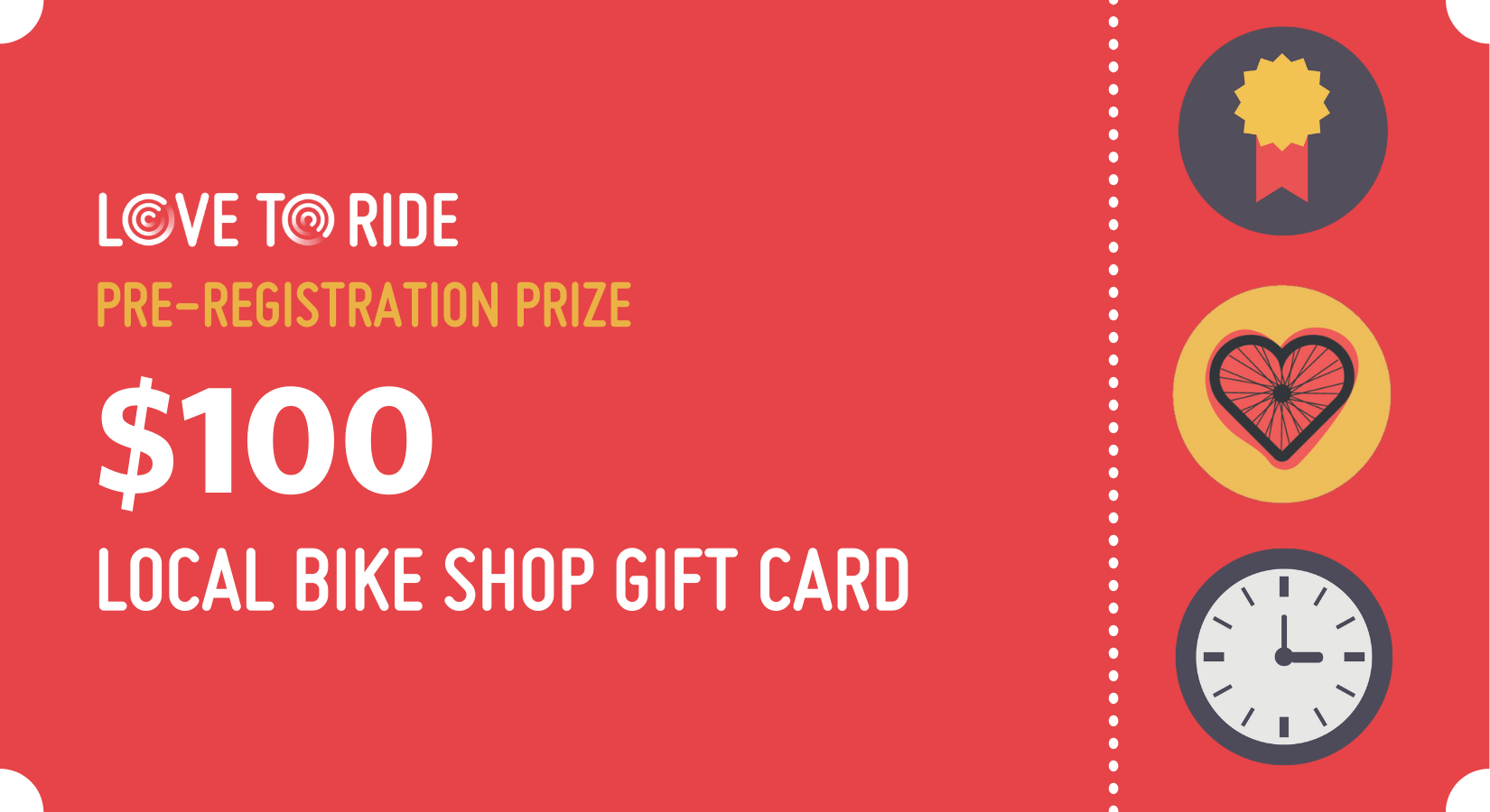 three Love to Ride local bike shop gift card with value of one hundred dollars