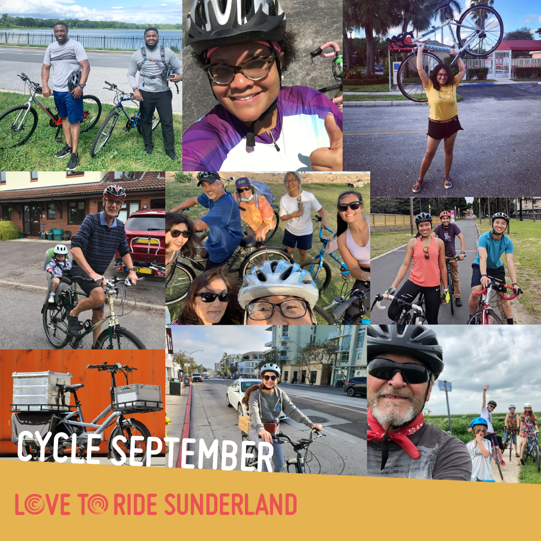 A square collage of photos of happy riders with the text 'Cycle September' and the Love to Ride logo.