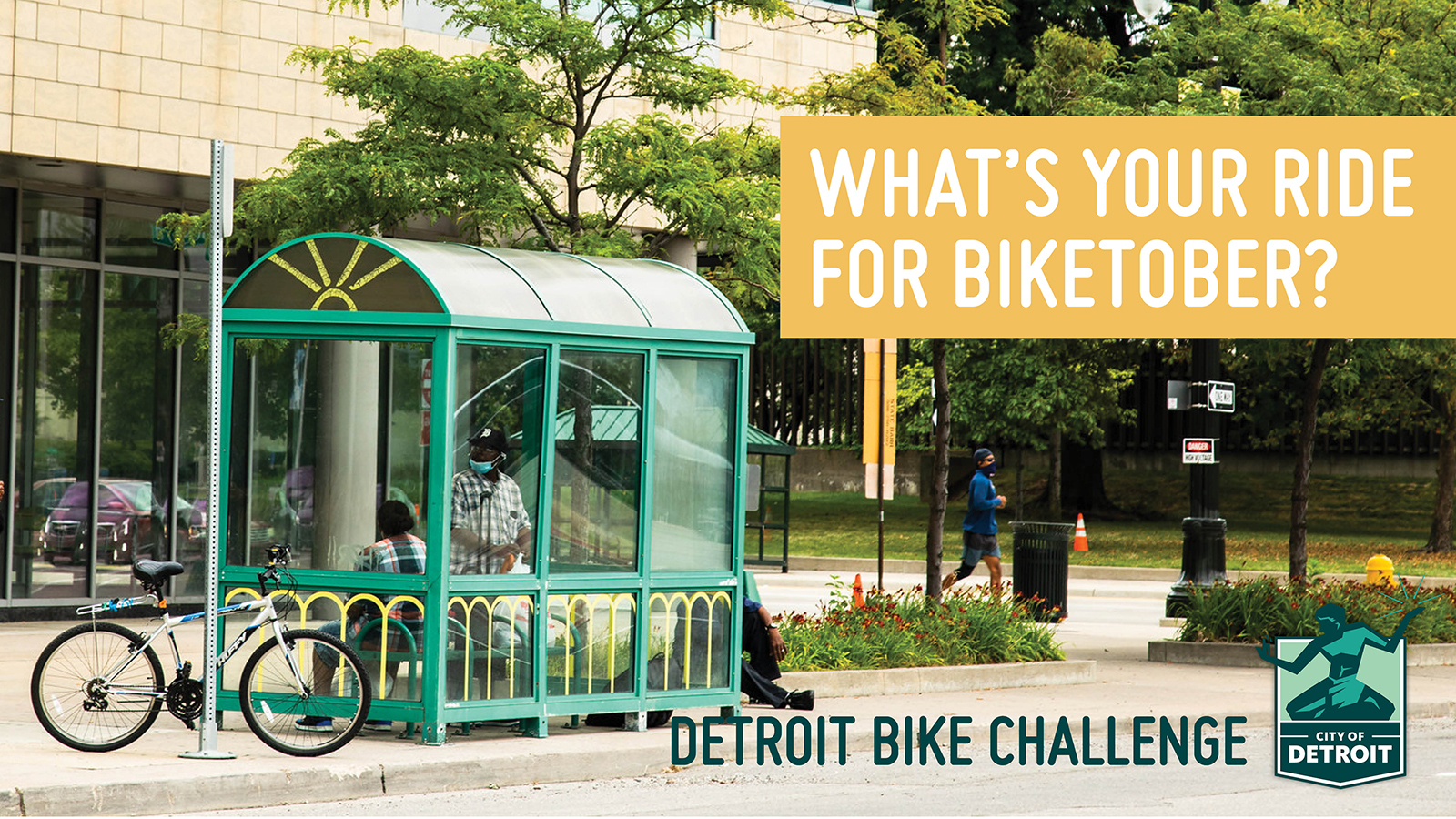 """Image of a bike at a covered bike stand with a text overlay that says """"What's your ride for Biketober? Detroit Bike Challenge"""""""