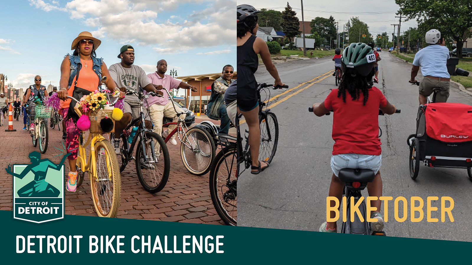 """2 images of people riding bikes with a text overlay that says """"Biketober - Detroit Bike Challenge"""""""
