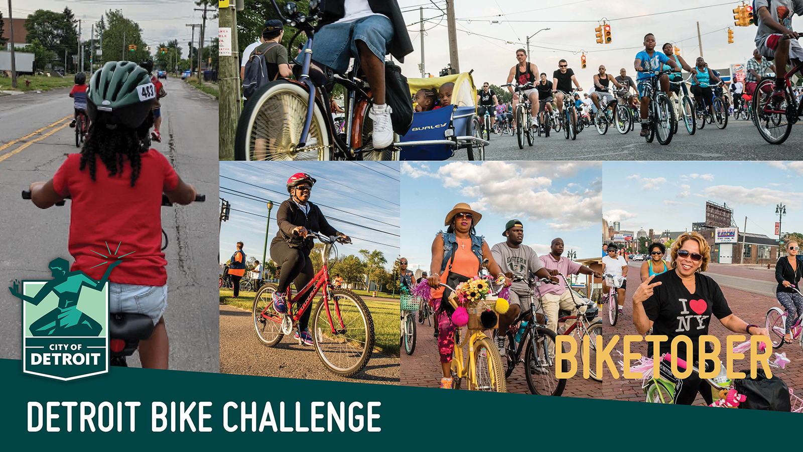 """A collage of photos of people riding bikes with a text overlay that says """"Biketober - Detroit Bike Challenge"""""""