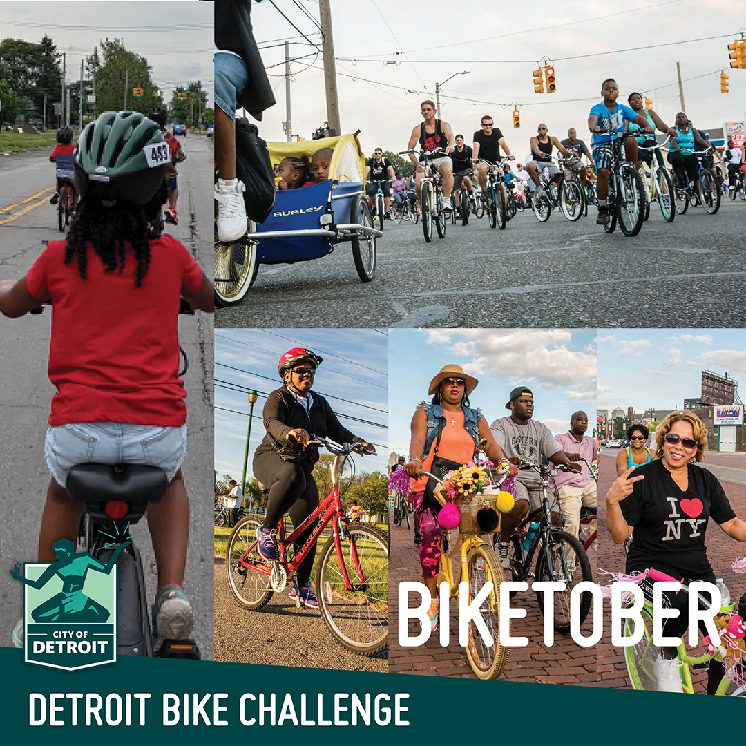 """A collage of photos of different people riding bikes. The text says """"Detroit Bike Challenge - Biketober"""""""