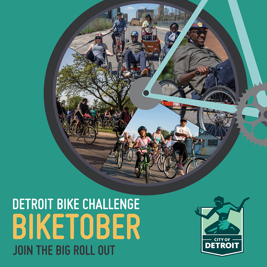 """A green square asset with an illustration of a bike wheel. Inside the wheel are photos of happy folks on bikes. Below, there is text that says """"Detroit Bike Challenge - Biketober. Join the roll out"""""""