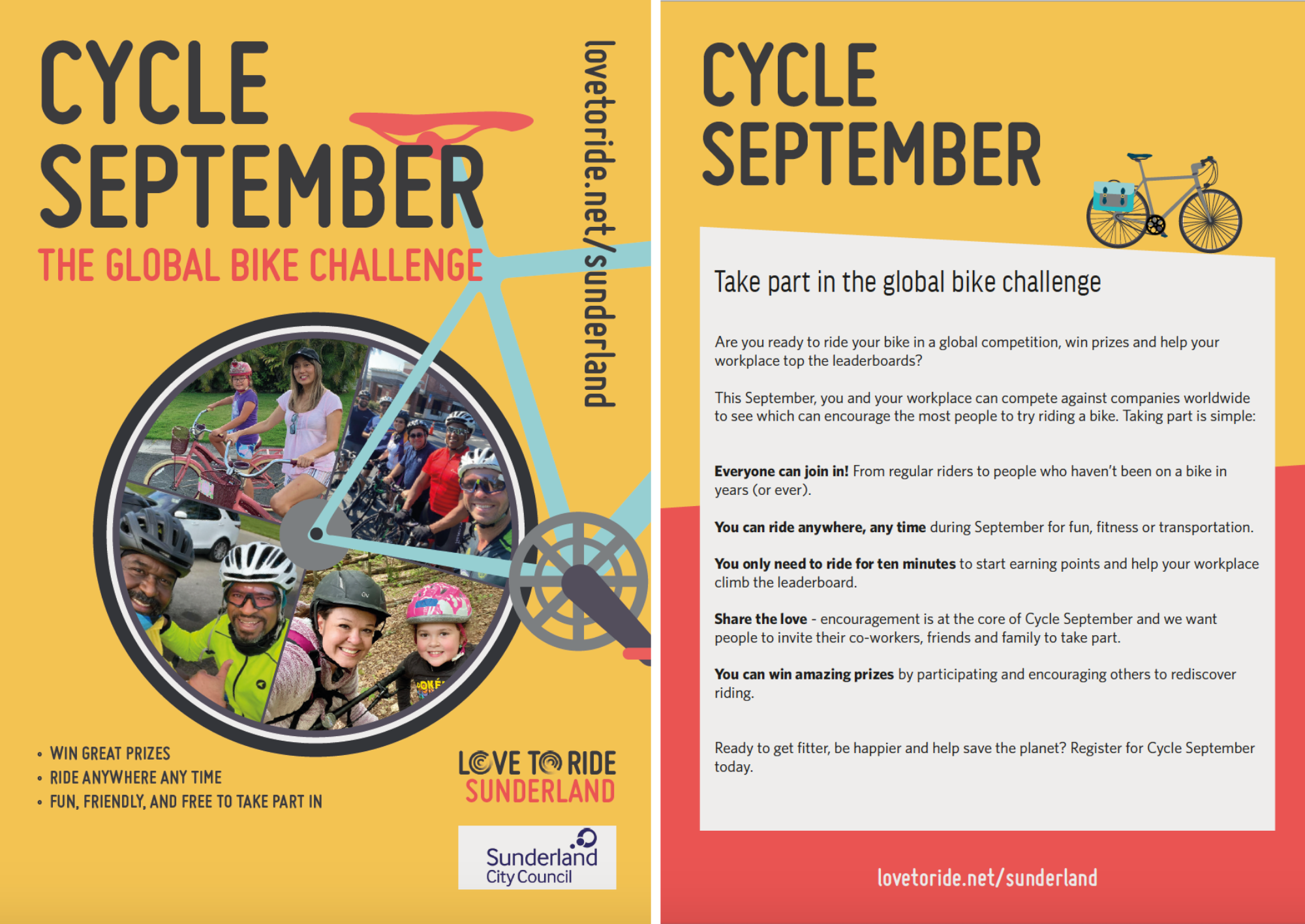 2-page spread of a Cycle September flyer