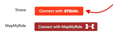 A screenshot highlighting the button to connect to Strava on user settings