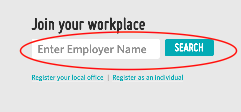A screenshot highlighting the box to search for your workplace