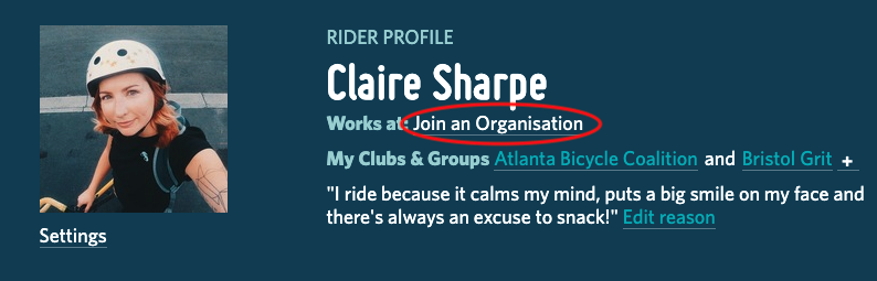 A screenshot highlighting the 'join an organization' link on a user profile