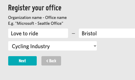 A screenshot showing where to type in the name of your office and enter the location and industry
