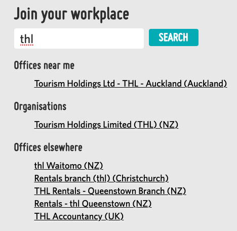 A screenshot showing an organization called 'Tourism Holdings Limited' showing up when you search for 'THL' because it includes 'THL' at the end of the name