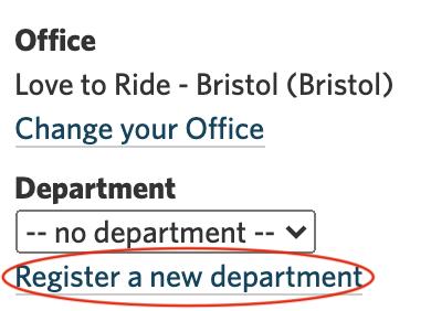 A screenshot highlighting the 'register a new department' link