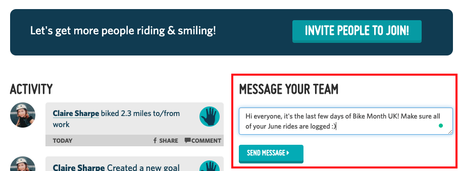 A screenshot highlighting the 'Message your team' box on an office or organization profile