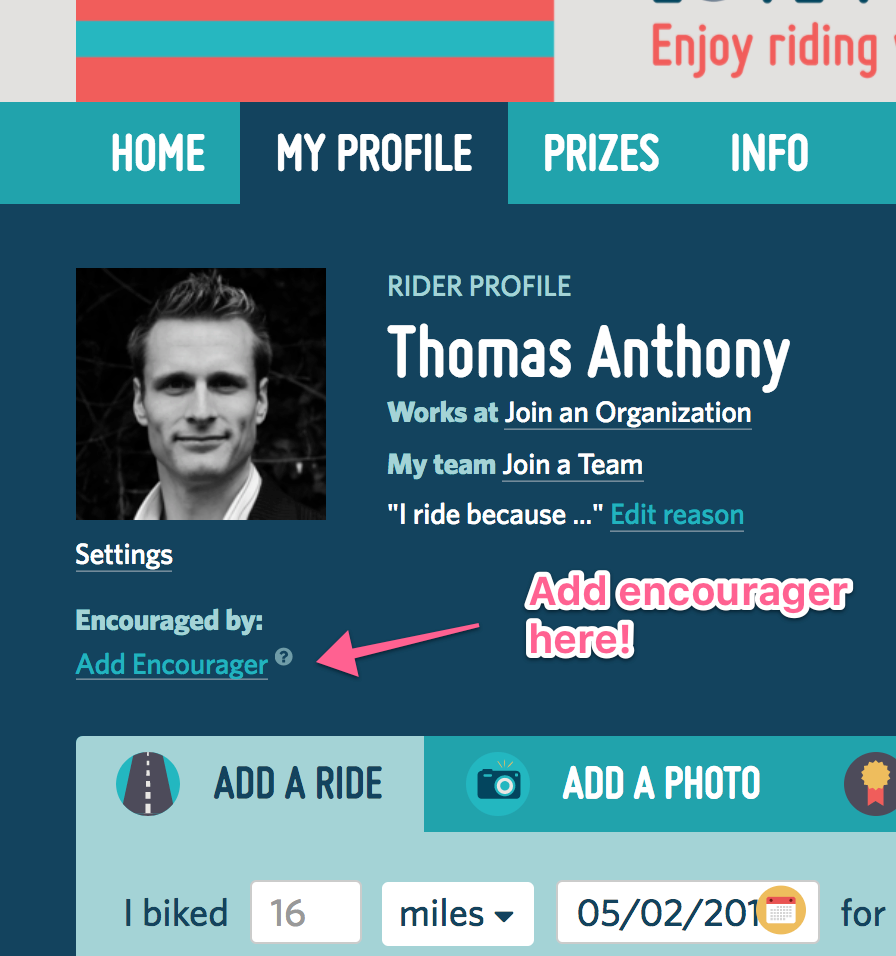 A screenshot highlighting the 'add an encourager' button underneath the profile picture on a user profile