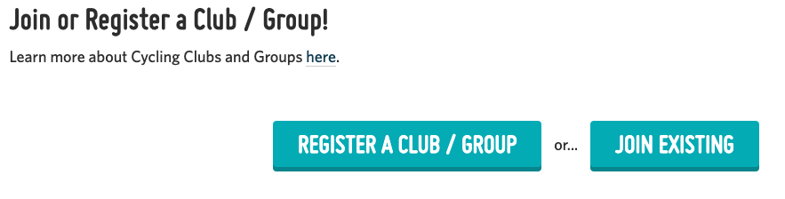 A screenshot showing the options to join an existing Club/Group or to register a new one