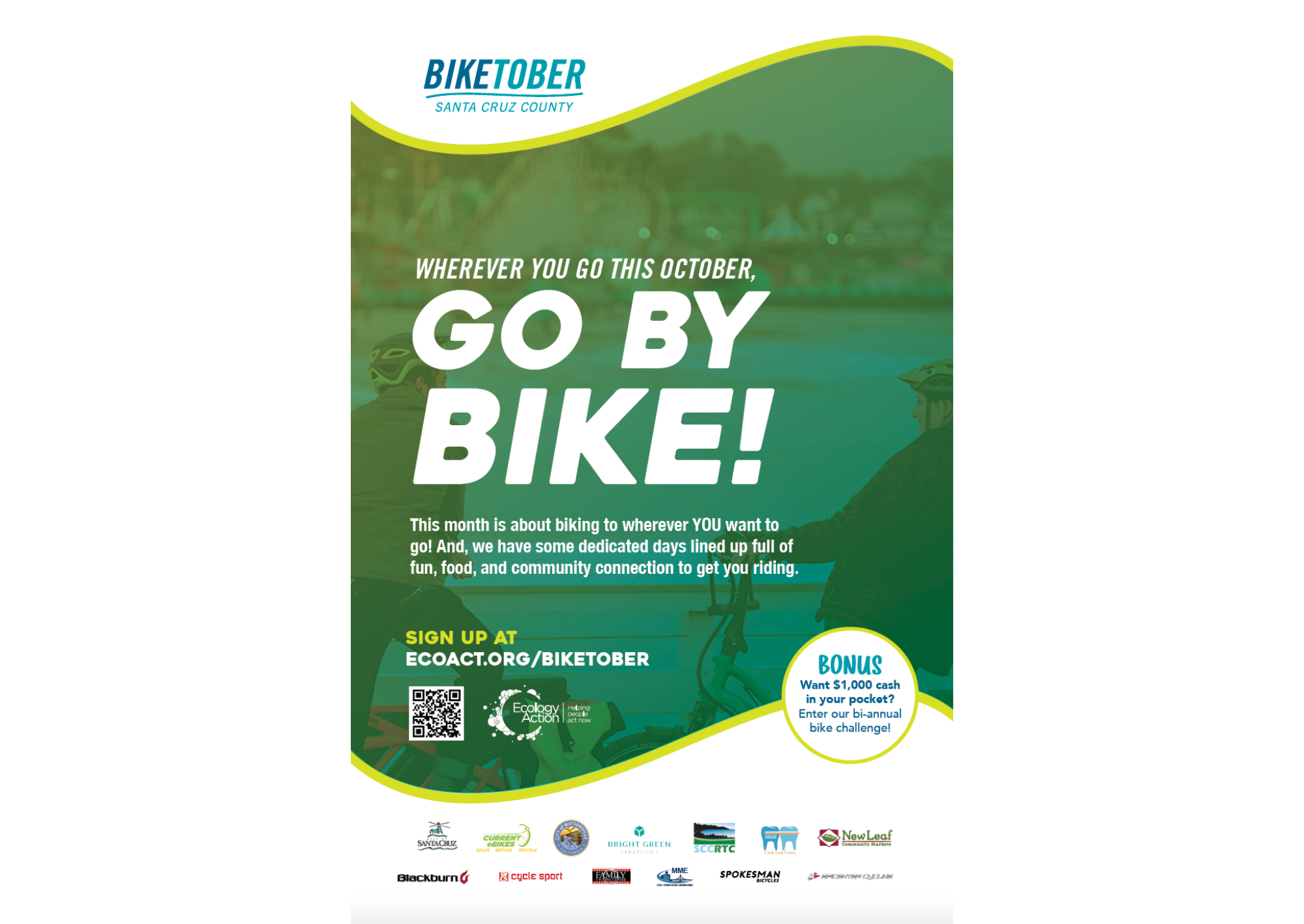 Biketober Santa Cruz County poster with a green blue overlay theme. Text reads 'where you go this October, go by bike!'.
