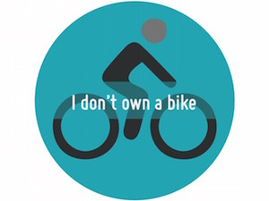 A circle with an illustration of a person riding a bike