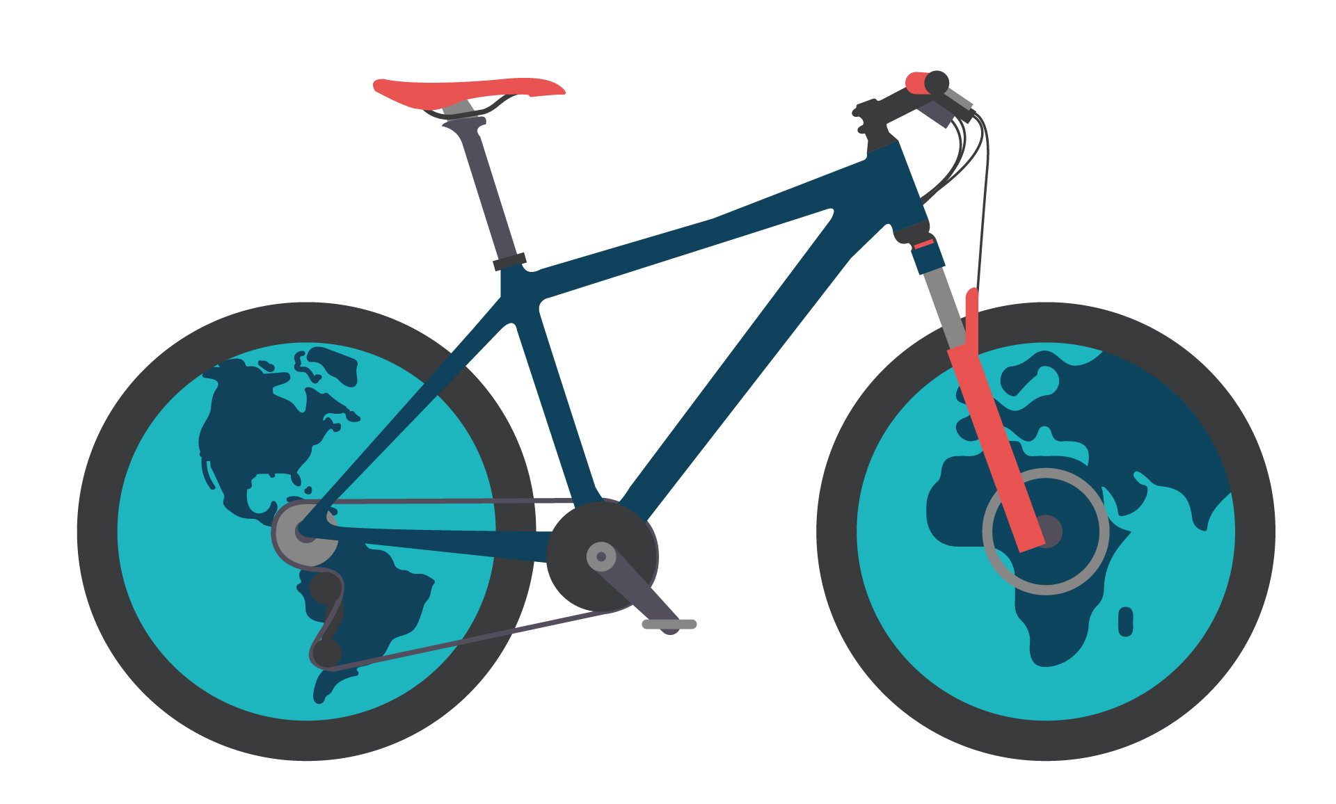 bike illustration with globes for wheels