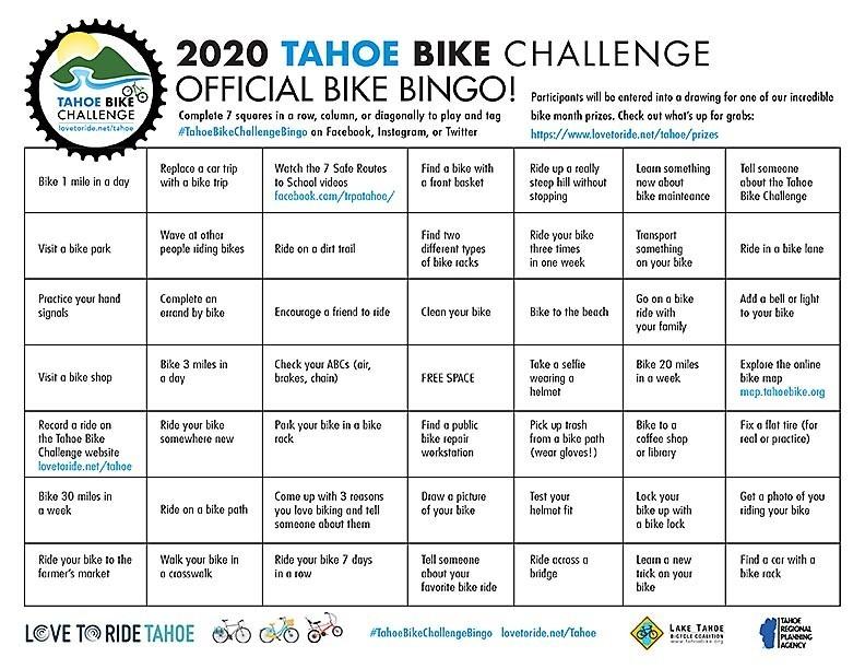 2020 Tahoe Bike Challenge Bingo